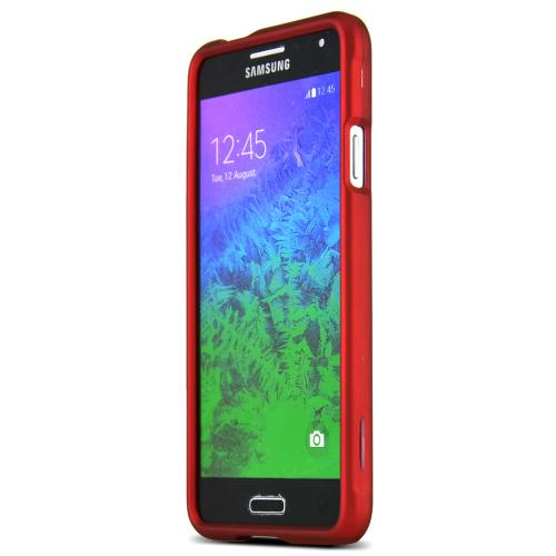 Samsung Galaxy Alpha Protective Rubberized Hard Case - Anti-slip Matte Rubber Material [Perfect Fitting Samsung Galaxy Alpha (2014) Case] [red]