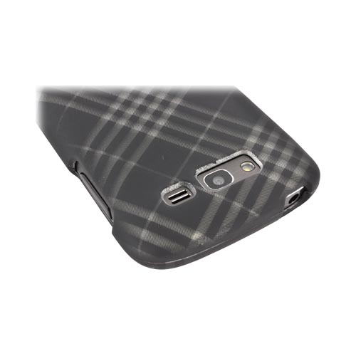Samsung Galaxy S Blaze 4G Rubberized Hard Case - Gray Plaid on Black