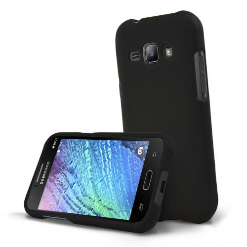 Samsung Galaxy J1 Case, [Black] Slim & Protective Rubberized Matte Hard Plastic Case