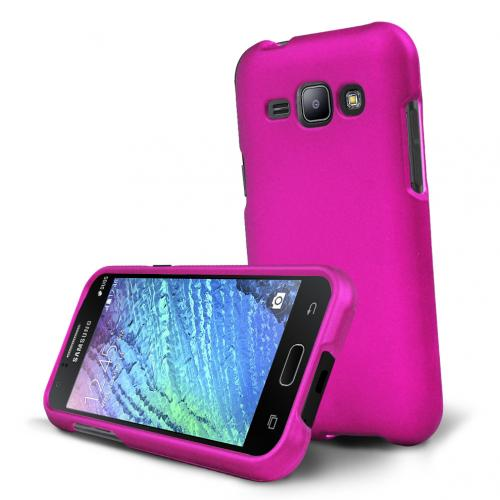 Samsung Galaxy J1 Case, [Hot Pink] Slim & Protective Rubberized Matte Hard Plastic Case