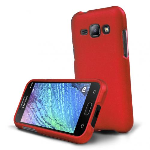 Samsung Galaxy J1 Case, [Red] Slim & Protective Rubberized Matte Hard Plastic Case