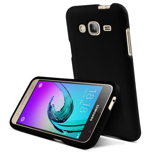 Samsung Galaxy J3 Case,  [Black]  Slim & Protective Rubberized Matte Finish Snap-on Hard Polycarbonate Plastic Case Cover