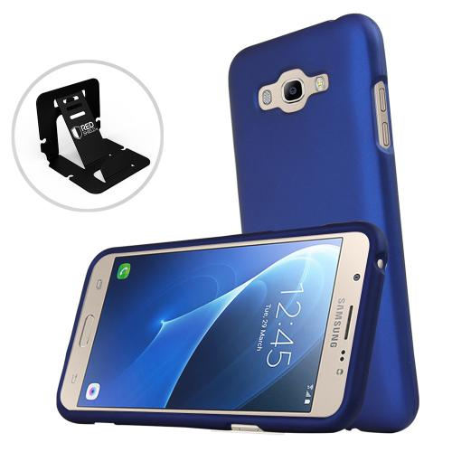 [Samsung Galaxy J7] (2015) Case, REDshield [Blue] Slim & Protective Rubberized Matte Finish Snap-on Hard Polycarbonate Plastic Case Cover with Travel Wallet Phone Stand