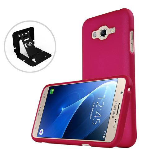 [Samsung Galaxy J7] (2015) Case, REDshield [Hot Pink] Slim & Protective Rubberized Matte Finish Snap-on Hard Polycarbonate Plastic Case Cover with Travel Wallet Phone Stand