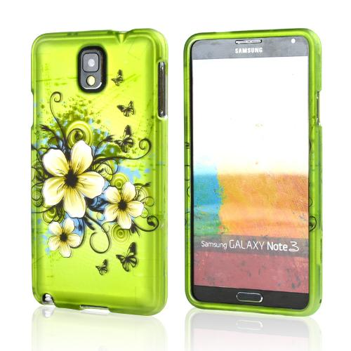 White Hawaiian Flowers on Green Rubberized Hard Case for Samsung Galaxy Note 3