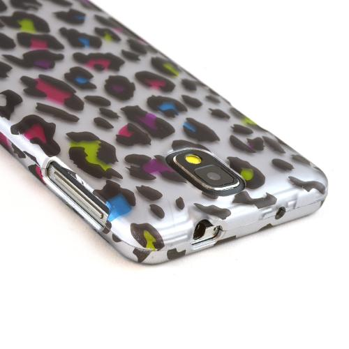 Rainbow Leopard on Silver Rubberized Hard Case for Samsung Galaxy Note 3