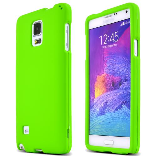 Samsung Galaxy Note 4 Case, [Neon Green]  Slim & Protective Rubberized Matte Finish Snap-on Hard Polycarbonate Plastic Case Cover