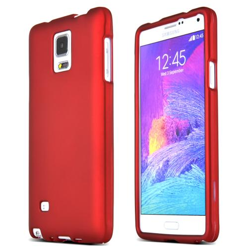 Samsung Galaxy Note 4 Case, [Red]  Slim & Protective Rubberized Matte Finish Snap-on Hard Polycarbonate Plastic Case Cover