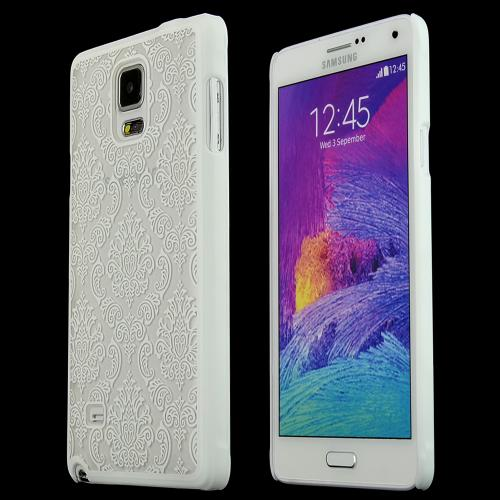 Samsung Galaxy Note 4 Protective Rubberized Hard Case - Anti-slip Matte Rubber Material [ Fitting Samsung Galaxy Note 4 (2014) Case] [white Lace]