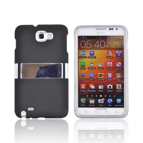 Samsung Galaxy Note Rubberized Hard Case w/ Chrome Kickstand - Black