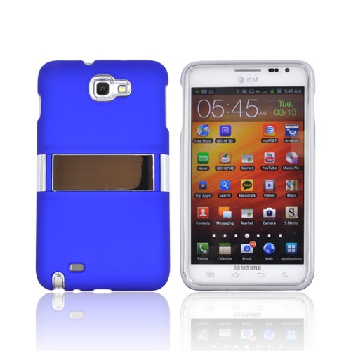 Samsung Galaxy Note Rubberized Hard Case w/ Chrome Kickstand - Blue