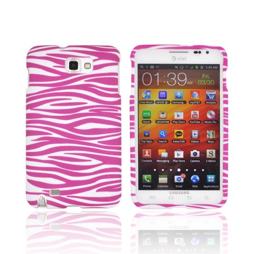 Samsung Galaxy Note Rubberized Hard Case - Pink Zebra on White