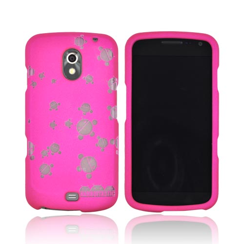 Samsung Galaxy Nexus Androitastic Rubberized Hard Case - Hot Pink Bubble Bot Invasion