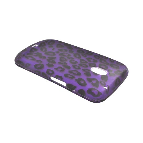 Samsung Galaxy Nexus Rubberized Hard Case - Purple/ Black Leopard