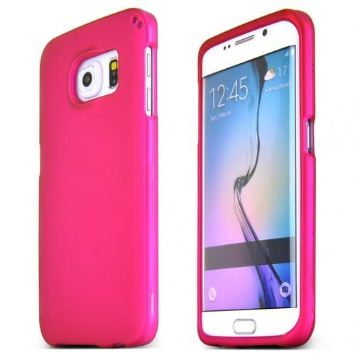 Samsung Galaxy S6 Edge Case,  [Hot Pink]  Slim & Protective Rubberized Matte Finish Snap-on Hard Polycarbonate Plastic Case Cover