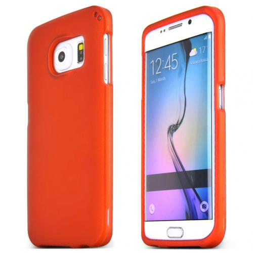Samsung Galaxy S6 Edge Case,  [Orange]  Slim & Protective Rubberized Matte Finish Snap-on Hard Polycarbonate Plastic Case Cover