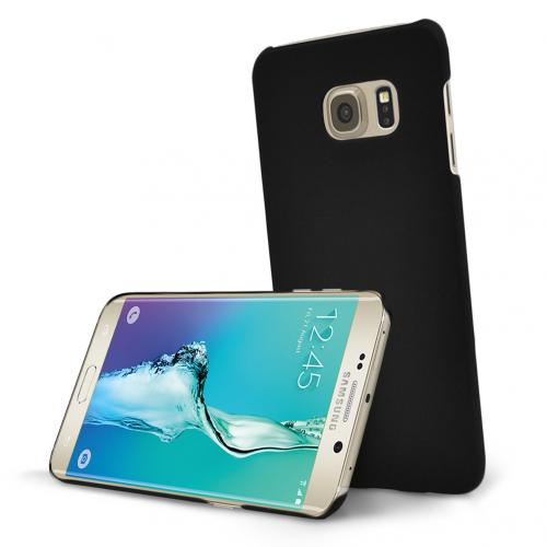 Samsung Galaxy S6 edge+ Case, [Black] Slim & Protective Rubberized Matte Hard Plastic Case