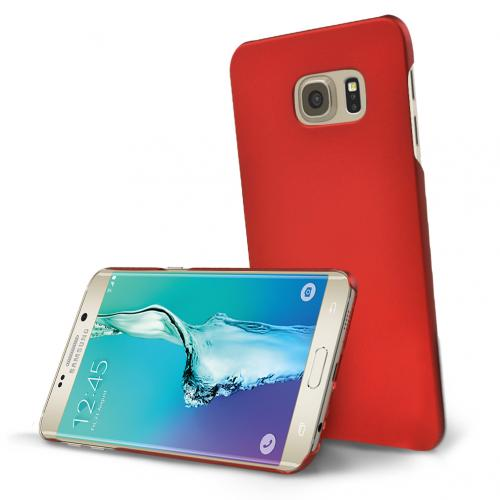 Samsung Galaxy S6 Edge Plus,  [Red]  Slim & Protective Rubberized Matte Finish Snap-on Hard Polycarbonate Plastic Case Cover