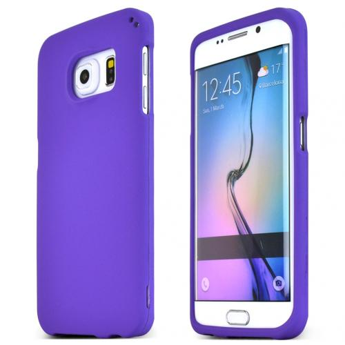 Samsung Galaxy S6 Edge Case,  [Purple]  Slim & Protective Rubberized Matte Finish Snap-on Hard Polycarbonate Plastic Case Cover
