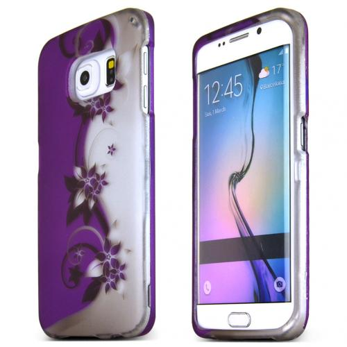 Samsung Galaxy S6 Edge Case,  [Purple Vines]  Slim & Protective Rubberized Matte Finish Snap-on Hard Polycarbonate Plastic Case Cover