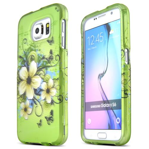 Samsung Galaxy S6 Case,  [Hawaiian Flowers]  Slim & Protective Rubberized Matte Finish Snap-on Hard Polycarbonate Plastic Case Cover
