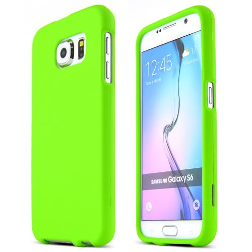 Samsung Galaxy S6 Case,  [Neon Green]  Slim & Protective Rubberized Matte Finish Snap-on Hard Polycarbonate Plastic Case Cover