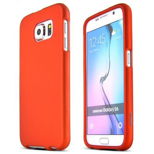 Samsung Galaxy S6 Case,  [Orange]  Slim & Protective Rubberized Matte Finish Snap-on Hard Polycarbonate Plastic Case Cover