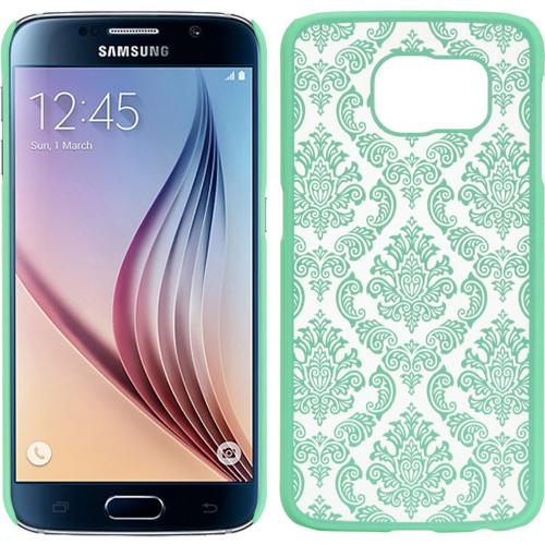 Samsung Galaxy S6 Case,  [Mint/ Aqua Lace]  Slim & Protective Rubberized Matte Finish Snap-on Hard Polycarbonate Plastic Case Cover