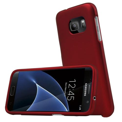 Samsung Galaxy S7 Case, REDshield  [Red] Slim & Protective Rubberized Matte Finish Snap-on Hard Polycarbonate Plastic Case Cover