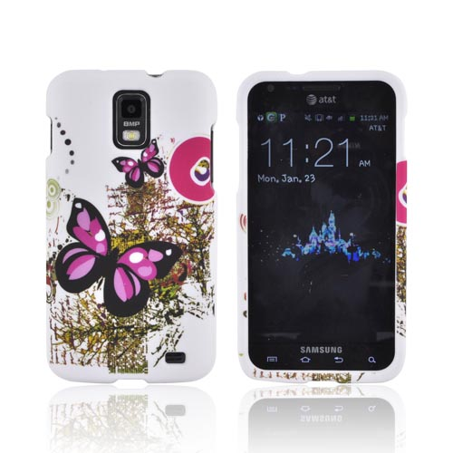 Samsung Galaxy Skyrocket Rubberized Hard Case - Hot Pink/ Black Butterflies on Branches & White