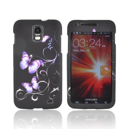 Samsung Galaxy S2 Skyrocket Rubberized Hard Case - Purple Butterflies on Black