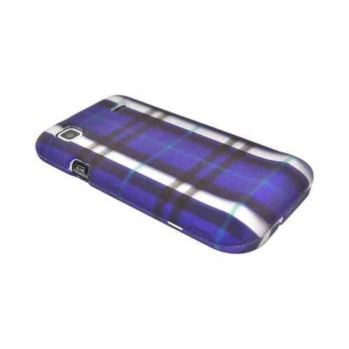 Samsung Vibrant/Galaxy S 4G Rubberized Hard Case - Plaid Design of Purple, Silver, Black