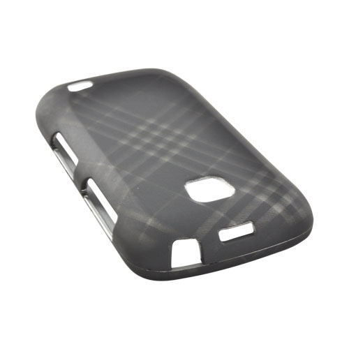 Samsung Illusion i110 Rubberized Hard Case - Gray Plaid on Black
