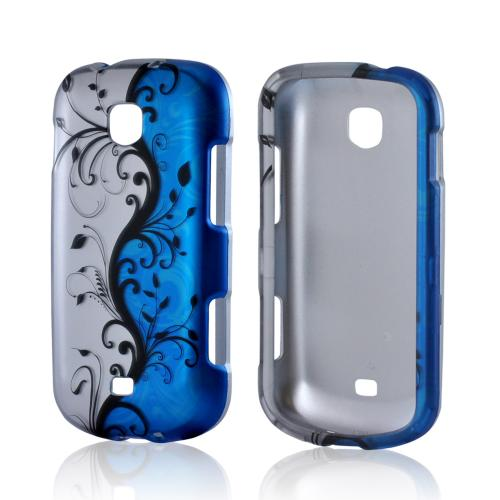 Black Vines on Silver/ Blue Rubberized Hard Case for Samsung Galaxy Stellar