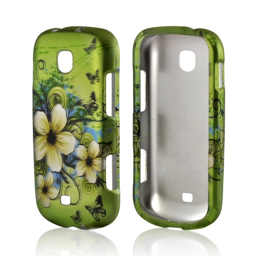 White Hawaiian Flowers on Green Rubberized Hard Case for Samsung Galaxy Stellar