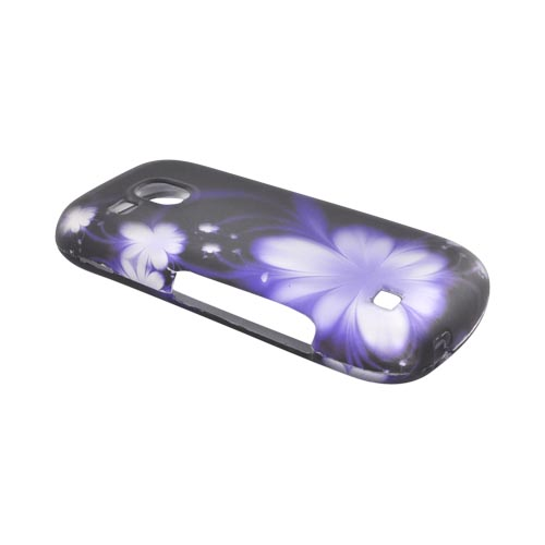 Samsung Continuum i400 Rubberized Hard Case - Purple Flowers on Black