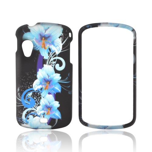 Samsung Stratosphere i405 Rubberized Hard Case - Blue Flowers on Black