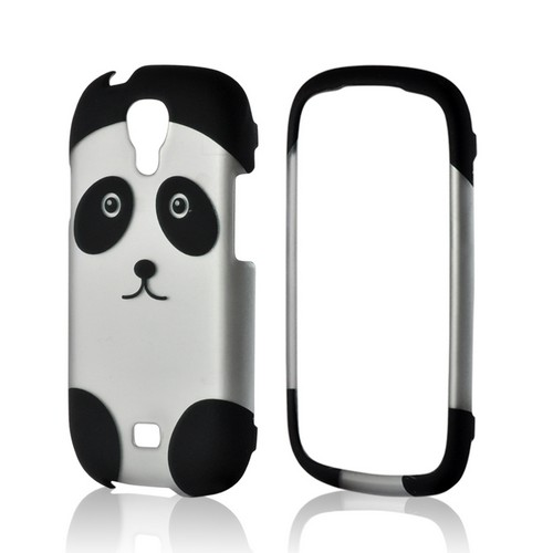 Black/ Silver Panda Rubberized Hard Case for Samsung Stratosphere 2