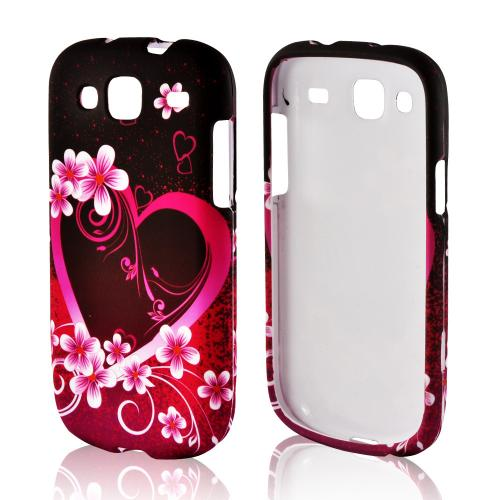 Hot Pink/ Purple Flowers & Hearts Rubberized Hard Case for Samsung Stratosphere 3