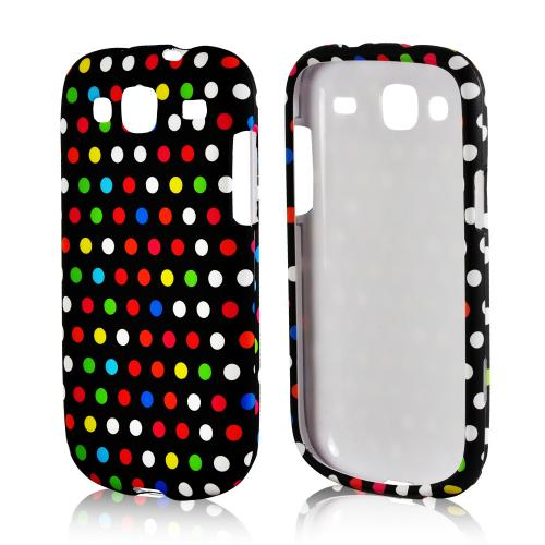 Rainbow Polka Dots on Black Rubberized Hard Case for Samsung Stratosphere 3