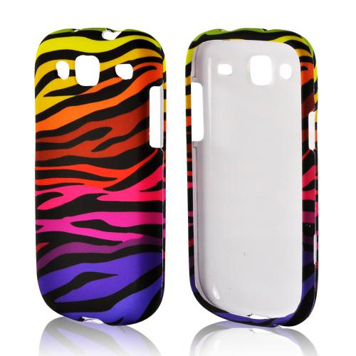 Rainbow Zebra on Black Rubberized Hard Case for Samsung Stratosphere 3