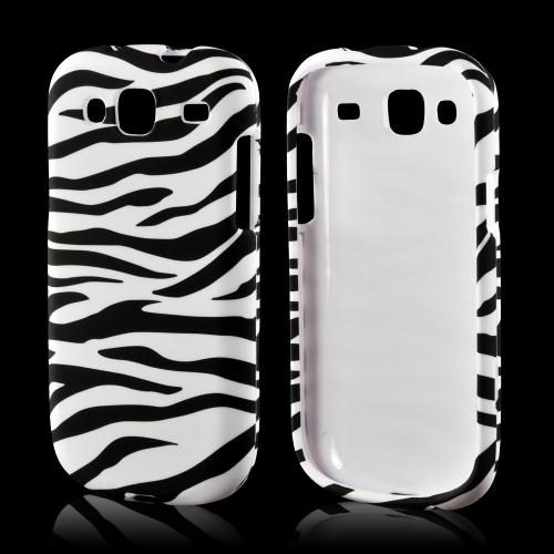 White/ Black Zebra Rubberized Hard Case for Samsung Stratosphere 3