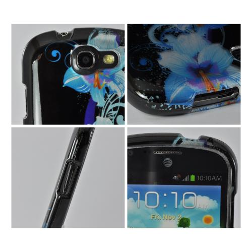 Blue Flowers on Black Hard Case for Samsung Galaxy Express