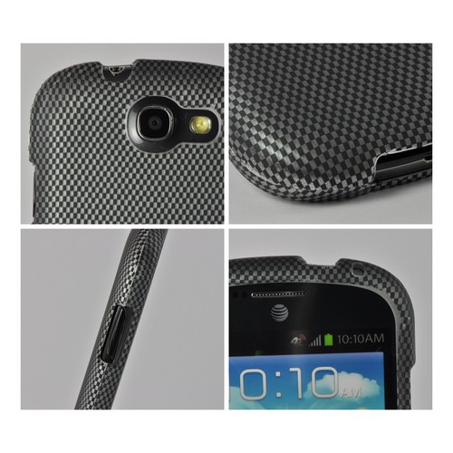 Black/ Gray Carbon Fiber Design Rubberized Hard Case for Samsung Galaxy Express