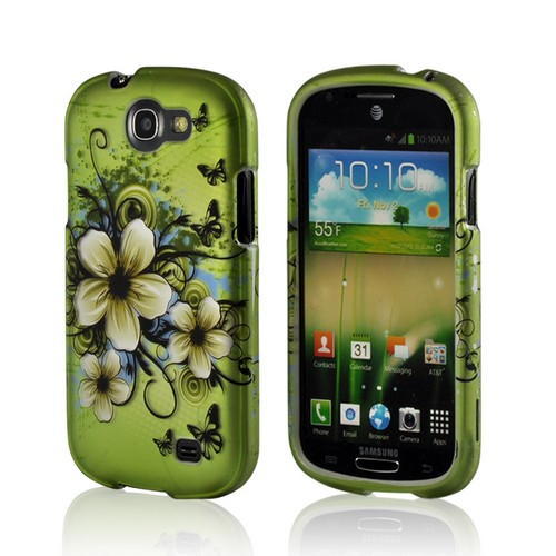 White Hawaiian Flowers on Green Rubberized Hard Case for Samsung Galaxy Express