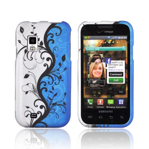 Samsung Fascinate i500 Rubberized Hard Case - Black Vines on Silver/ Blue