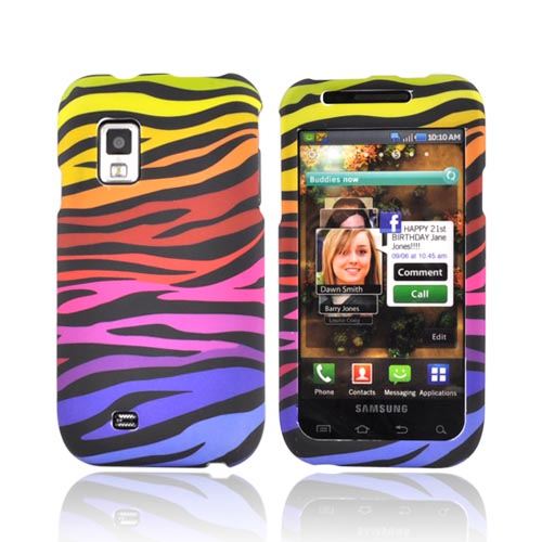 Samsung Fascinate i500 Rubberized Hard Case - Colorful Zebra on Black