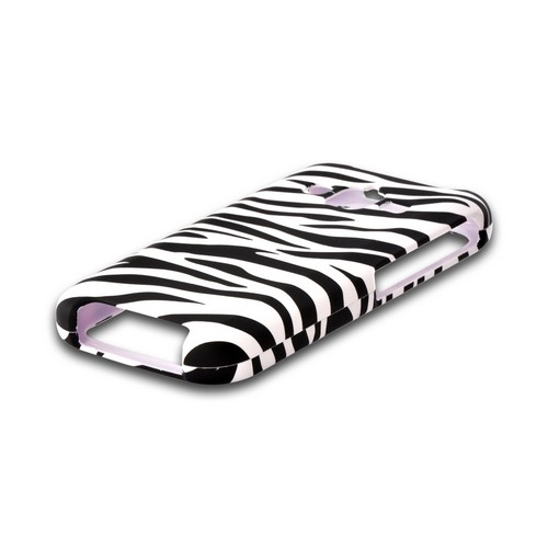 Black/ White Zebra Rubberized Hard Case for Samsung Rugby Pro