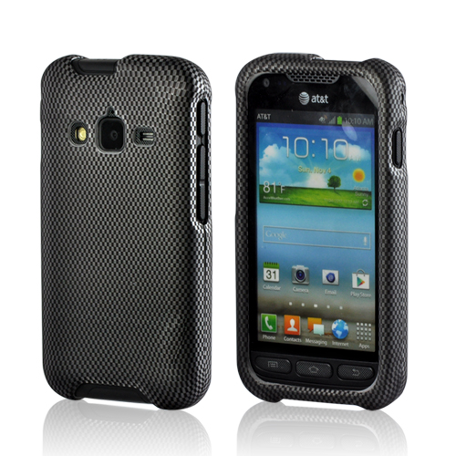 Black/ Gray Carbon Fiber Design Rubberized Hard Case for Samsung Rugby Pro