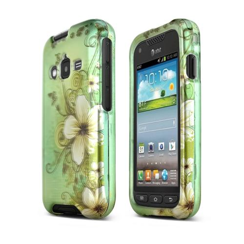 White Hawaiian Flowers on Green Hard Case for Samsung Rugby Pro